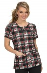 Bluza medyczna KOI Betsey Johnson Clover Heart Plaid