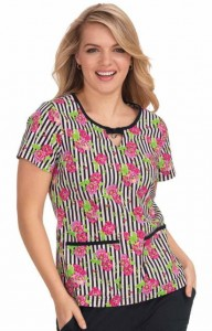 Bluza medyczna KOI Betsey Johnson Rose Flowers and Stripes